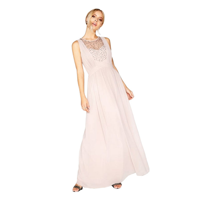 Mink - Lifestyle - Little Mistress Womens-Ladies Mink Pearl Yoke Maxi Dress