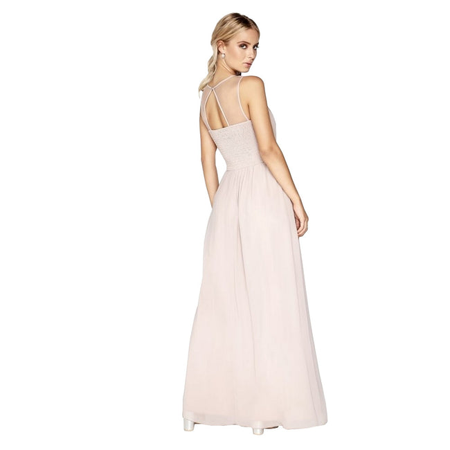 Mink - Pack Shot - Little Mistress Womens-Ladies Mink Pearl Yoke Maxi Dress