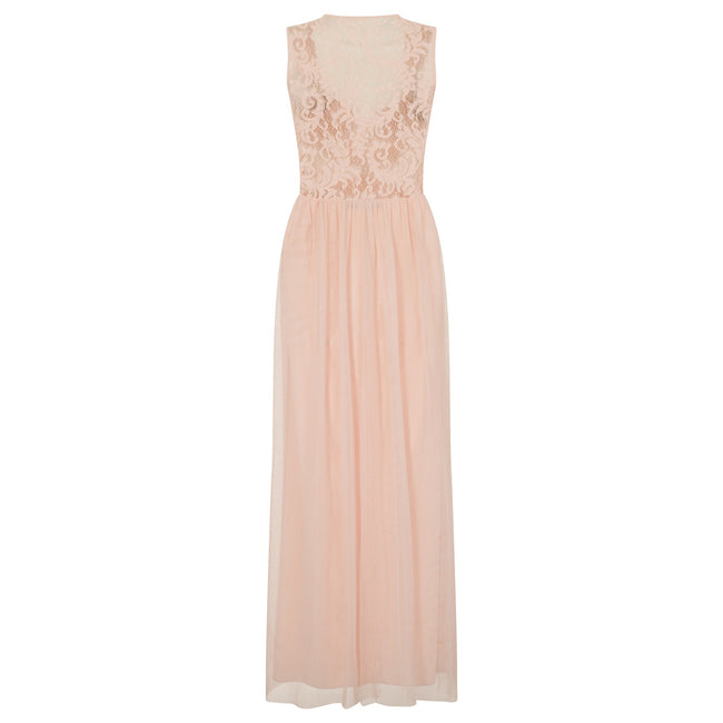 Nude - Back - Little Mistress Womens-Ladies Nude Lace Back Maxi Dress