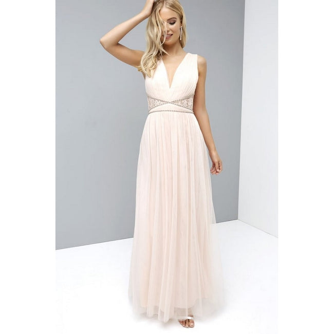 Nude - Pack Shot - Little Mistress Womens-Ladies Nude Lace Back Maxi Dress