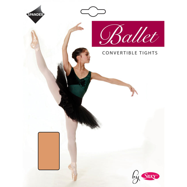 Tan - Front - Silky Big Girls Dance Ballet Tights Convertible (1 Pair)