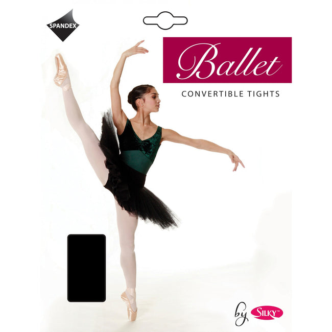 Black - Front - Silky Big Girls Dance Ballet Tights Convertible (1 Pair)