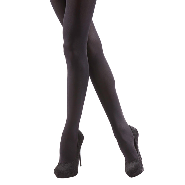 Black - Front - Silky Womens-Ladies Opaque 40 Denier Essential Tights (2 Pairs)