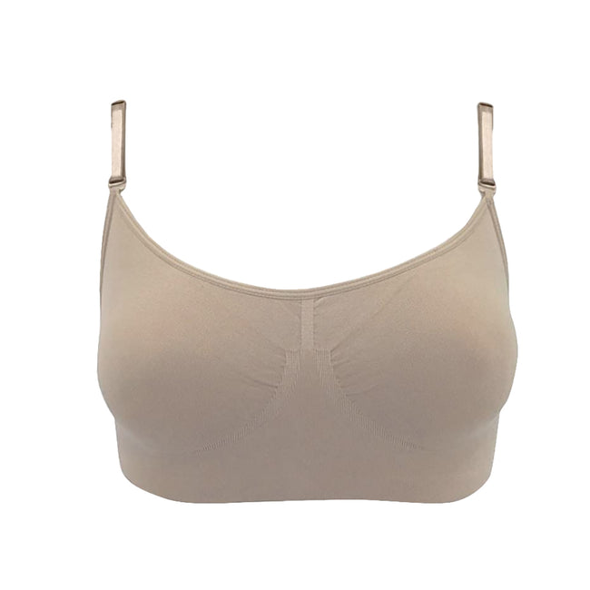 Nude - Front - Silky Womens-Ladies Dance Seamless Clear Back Bra (1 Garment)