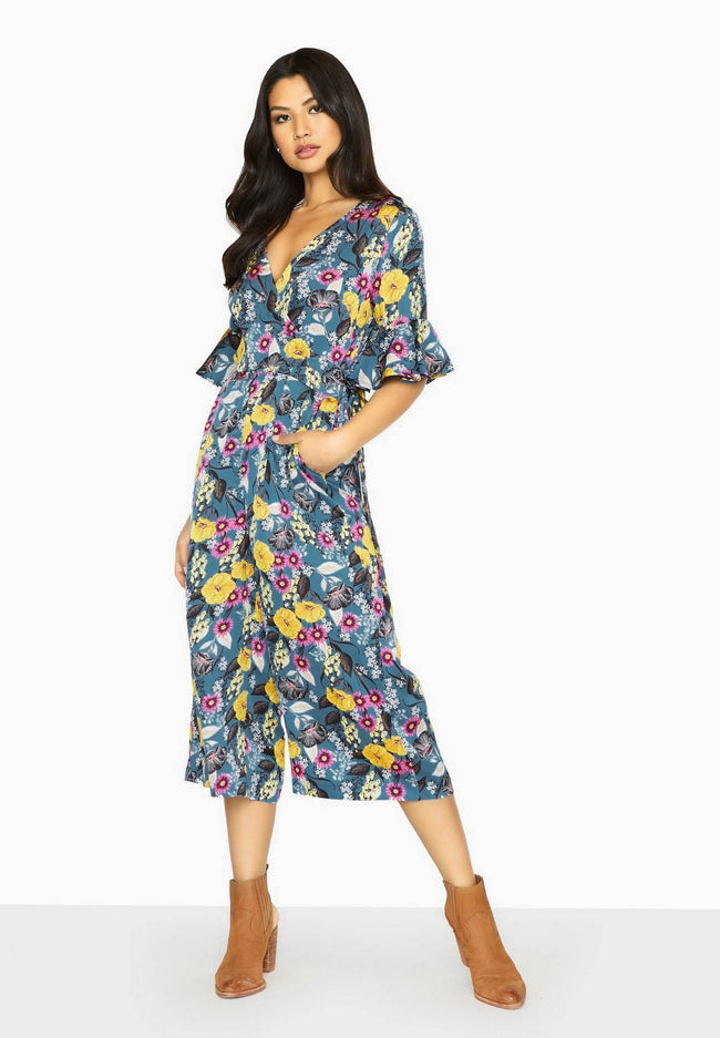 Blue - Back - Girls On Film Womens-Ladies Bittersweet Wrap Jumpsuit