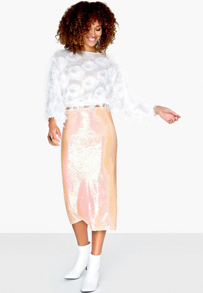 Pink - Back - Girls On Film Womens-Ladies Spock Iridescent Sequin Skirt