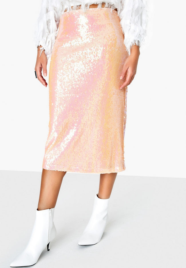 Pink - Side - Girls On Film Womens-Ladies Spock Iridescent Sequin Skirt