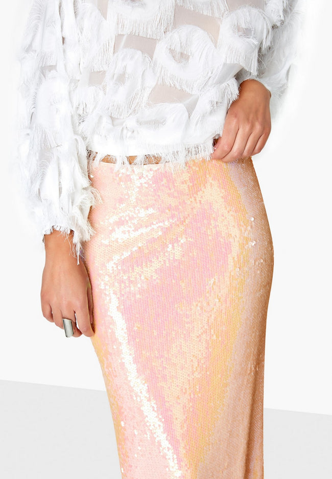 Pink - Pack Shot - Girls On Film Womens-Ladies Spock Iridescent Sequin Skirt