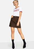 Leopard Print - Side - Girls On Film Womens-Ladies Ronnie Leopard Denim Skirt