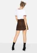 Leopard Print - Lifestyle - Girls On Film Womens-Ladies Ronnie Leopard Denim Skirt