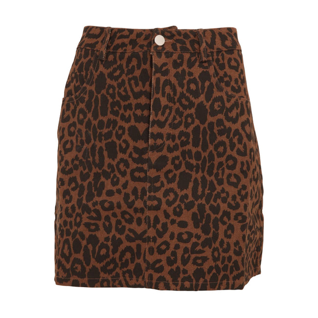 Leopard Print - Front - Girls On Film Womens-Ladies Ronnie Leopard Denim Skirt