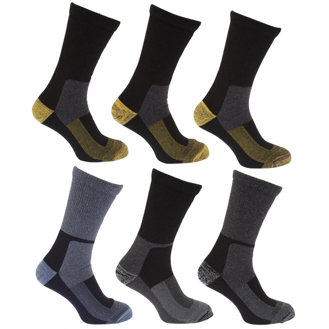 Design 2 - Front - Mens Wool Blend Extra Warm Work Socks (Pack Of 6)