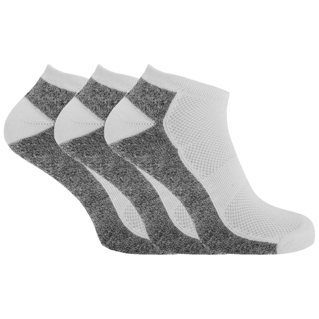White-Grey Marl - Front - Mens Cotton Rich Sports Sneaker-Trainer Socks With Mesh And Ribbing (Pack Of 3)