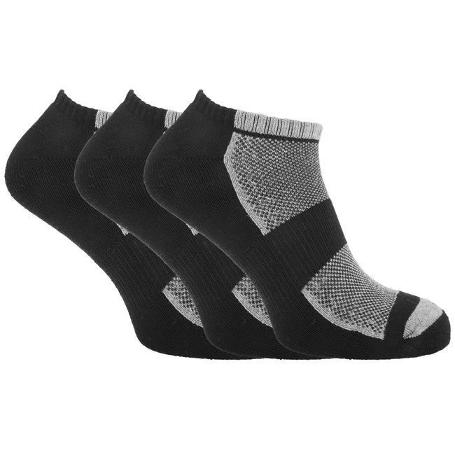 Black-Grey Marl - Front - Mens Cotton Rich Sports Sneaker-Trainer Socks With Mesh And Ribbing (Pack Of 3)