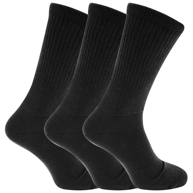 Navy- Black - Front - Mens Extra Wide Comfort Fit Wide Feet Diabetic Socks (3 Pairs)