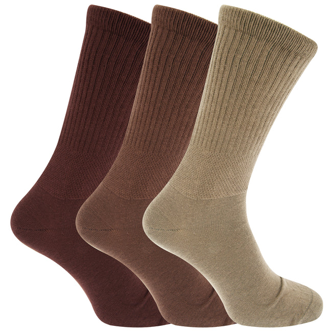 Brown Shades - Front - Mens Extra Wide Comfort Fit Wide Feet Diabetic Socks (3 Pairs)