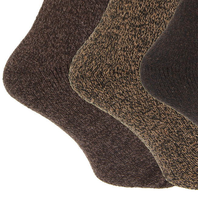 Black - Front - Mens Wool Blend Fully Cushioned Thermal Boot Socks (Pack Of 3)