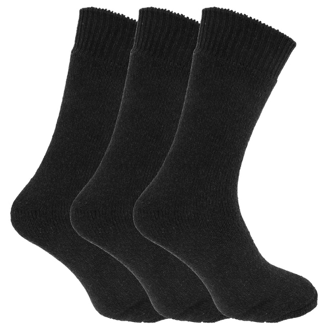 Shades Of Grey - Front - Mens Wool Blend Fully Cushioned Thermal Boot Socks (Pack Of 3)