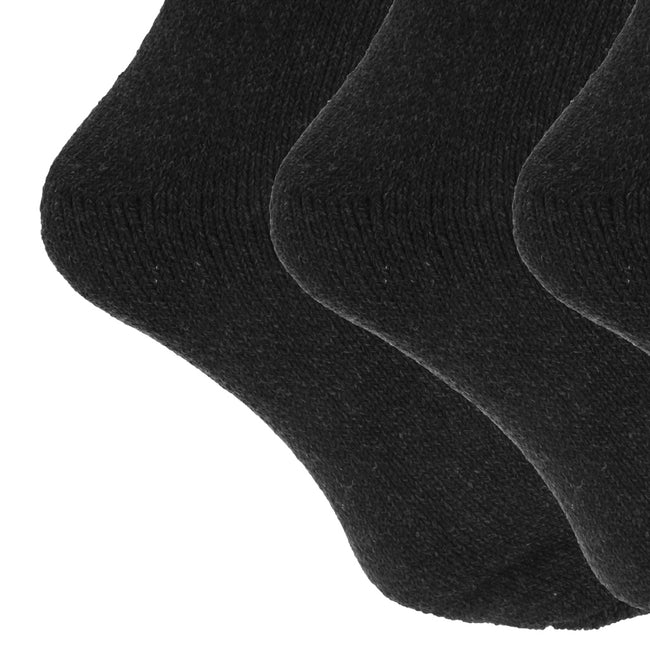 Shades Of Blue - Front - Mens Wool Blend Fully Cushioned Thermal Boot Socks (Pack Of 3)
