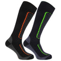 Black-Navy - Front - FLOSO Mens Ski Socks (Pack Of 2)
