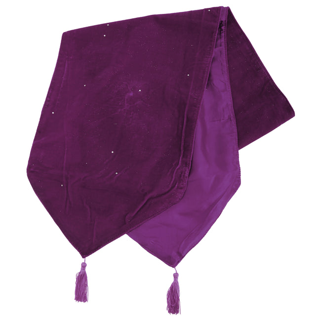 Aubergine - Front - Panache Electra Sequin Table Runner With Tassels