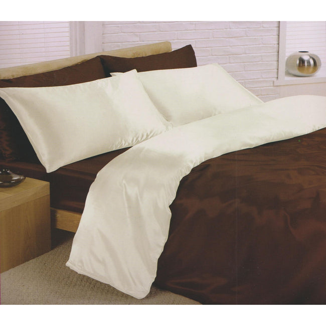 Chocolate-Cream - Front - Charisma Satin Reversible Bedding Set (Duvet Cover, Fitted Sheet & Pillowcases)