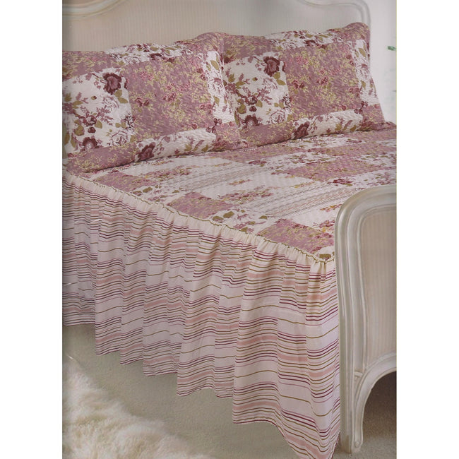 Washington - Front - E Of W Washington Floral Diamond Quilted Bedspread With Pillowshams Bedding Set
