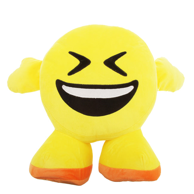 Toothy Grin Face - Front - Smiley Emoji Design Filled Plush Cushion With Legs (10 Designs)