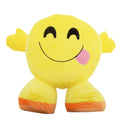 Happy Tongue Face - Front - Smiley Emoji Design Filled Plush Cushion With Legs (10 Designs)