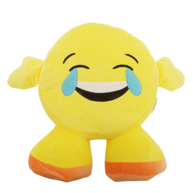 Crying Laughing Face - Front - Smiley Emoji Design Filled Plush Cushion With Legs (10 Designs)