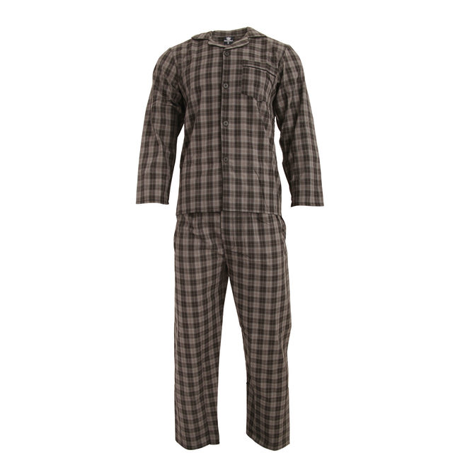 Black Check - Front - Cargo Bay Mens Woven Striped Pajama Set