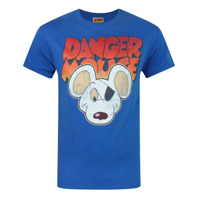 Blue - Front - Danger Mouse Mens Face T-Shirt