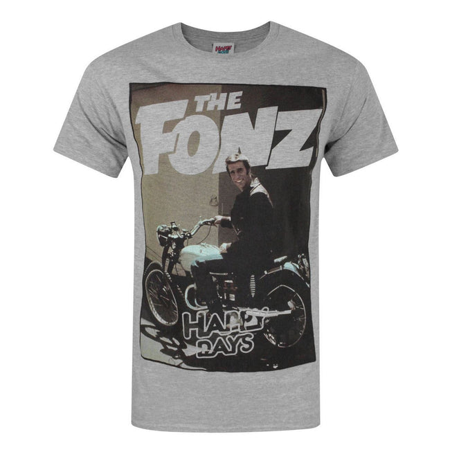 Gray - Front - Happy Days Mens The Fonz T-Shirt
