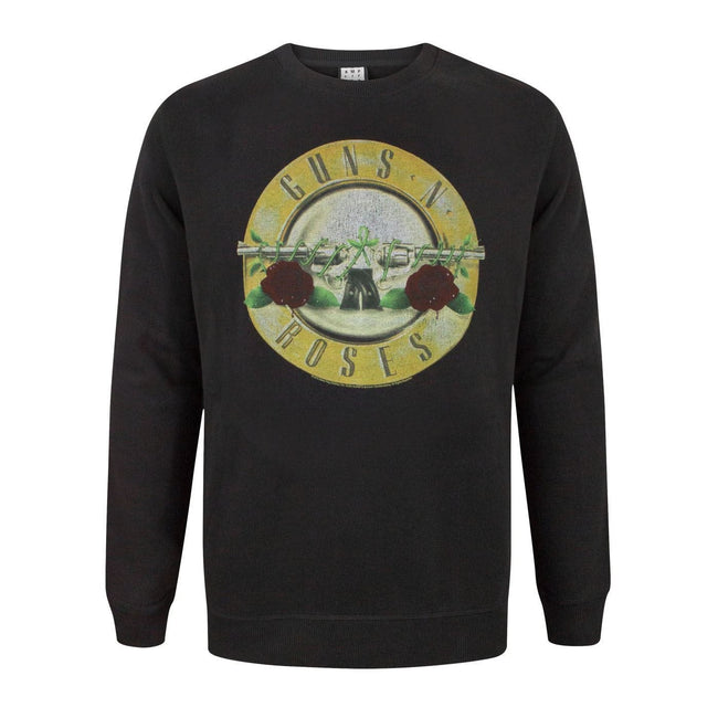 Black - Front - Amplified Guns N Roses Mens Drum Sweatshirt