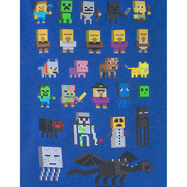 Blue - Front - Minecraft Official Boys Sprites Characters T-Shirt