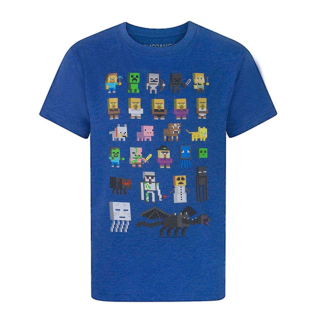 Black - Front - Minecraft Official Boys Sprites Characters T-Shirt