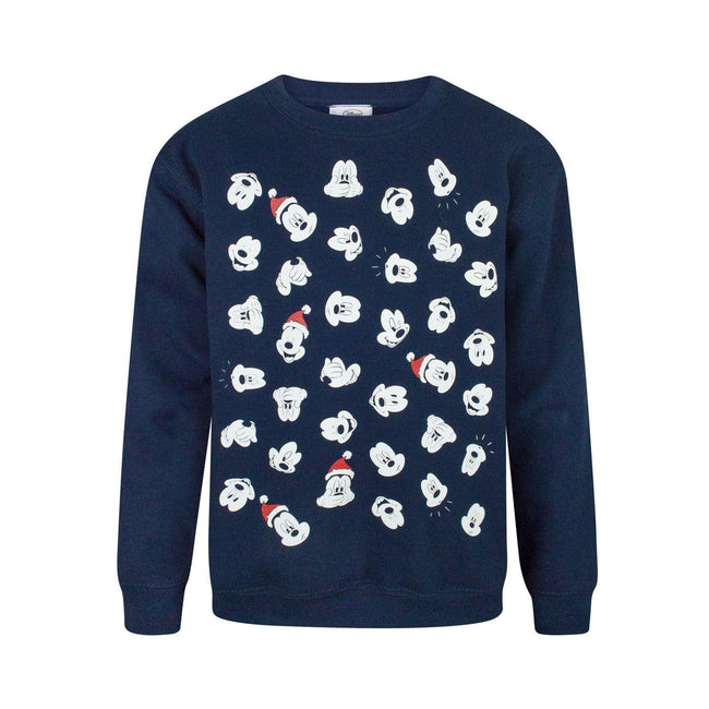 Blue - Front - Disney Childrens Boys Mickey Mouse Faces Christmas Sweatshirt
