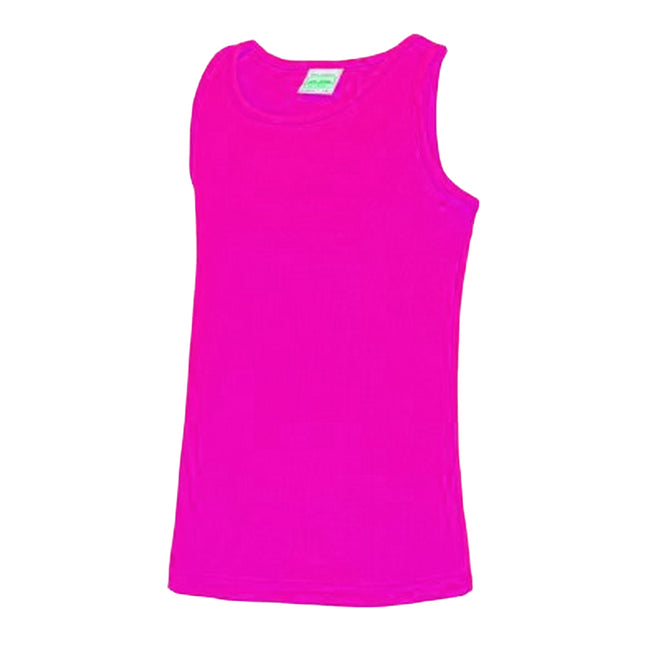 Hot Pink - Front - AWDis Childrens-Kids Just Cool Sleeveless Vest Top