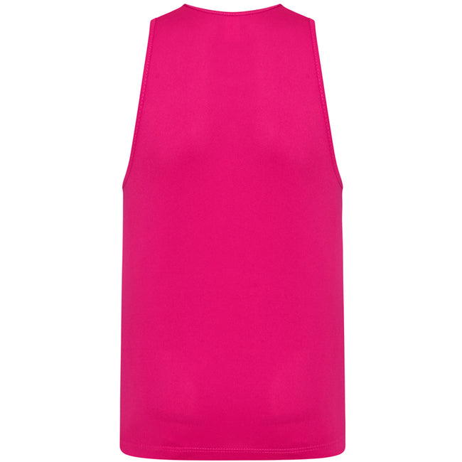 Hot Pink - Back - AWDis Childrens-Kids Just Cool Sleeveless Vest Top