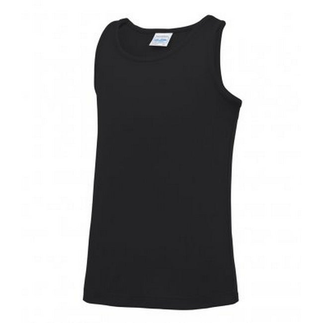 Jet Black - Front - AWDis Childrens-Kids Just Cool Sleeveless Vest Top