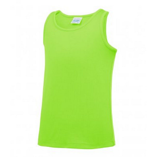 Electric Green - Front - AWDis Childrens-Kids Just Cool Sleeveless Vest Top