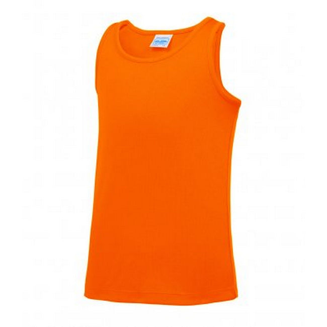 Electric Orange - Front - AWDis Childrens-Kids Just Cool Sleeveless Vest Top