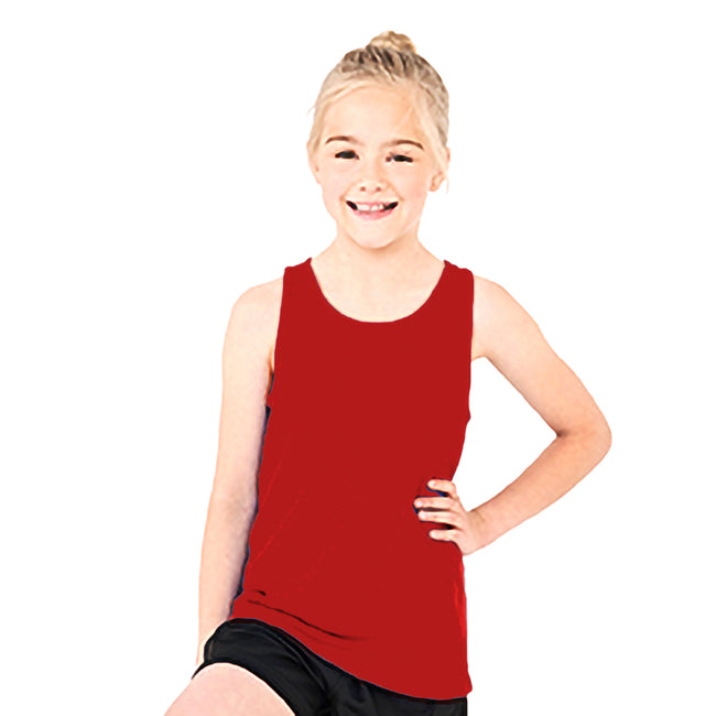 Fire Red - Side - AWDis Childrens-Kids Just Cool Sleeveless Vest Top