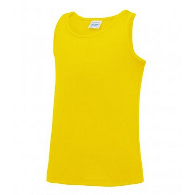 Sun Yellow - Front - AWDis Childrens-Kids Just Cool Sleeveless Vest Top