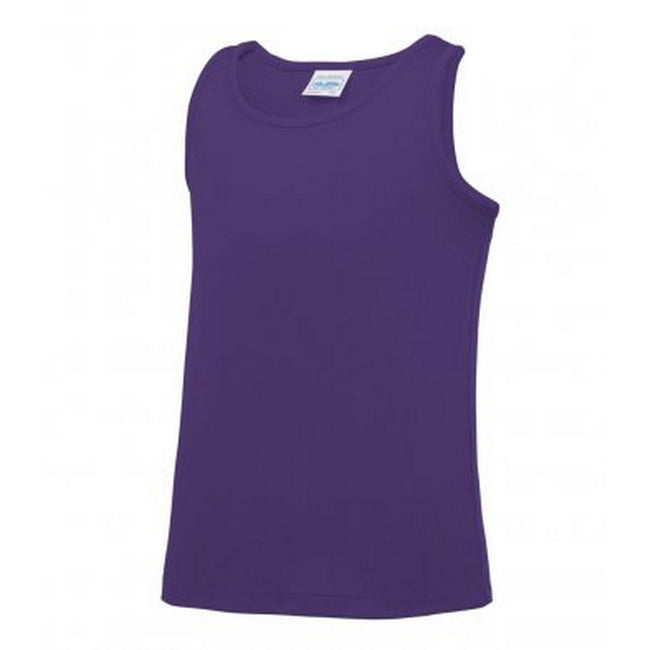 Purple - Front - AWDis Childrens-Kids Just Cool Sleeveless Vest Top