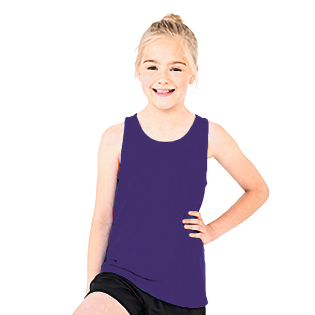 Purple - Side - AWDis Childrens-Kids Just Cool Sleeveless Vest Top