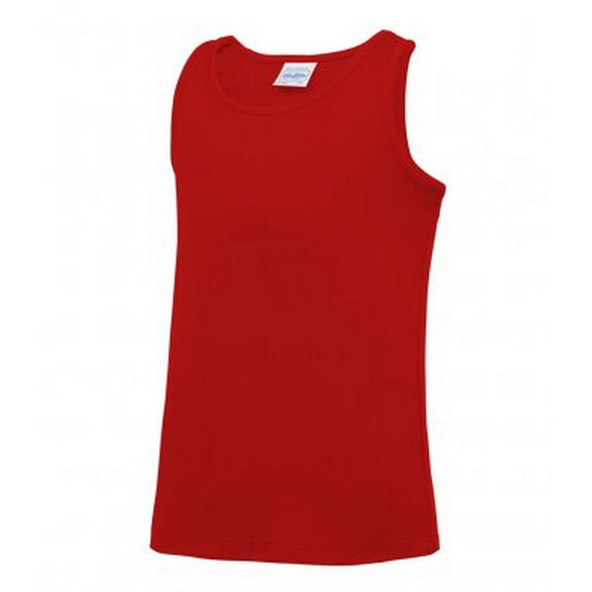 Fire Red - Front - AWDis Childrens-Kids Just Cool Sleeveless Vest Top