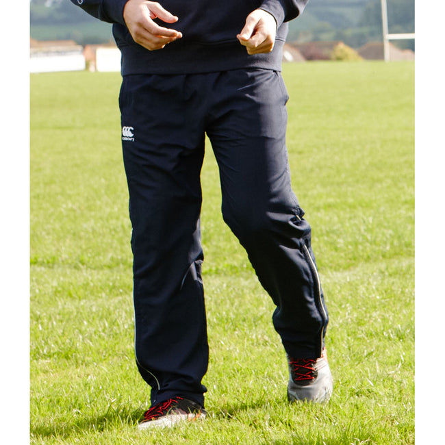 Navy-White - Side - Canterbury Mens Team Water Resistant Track Trousers