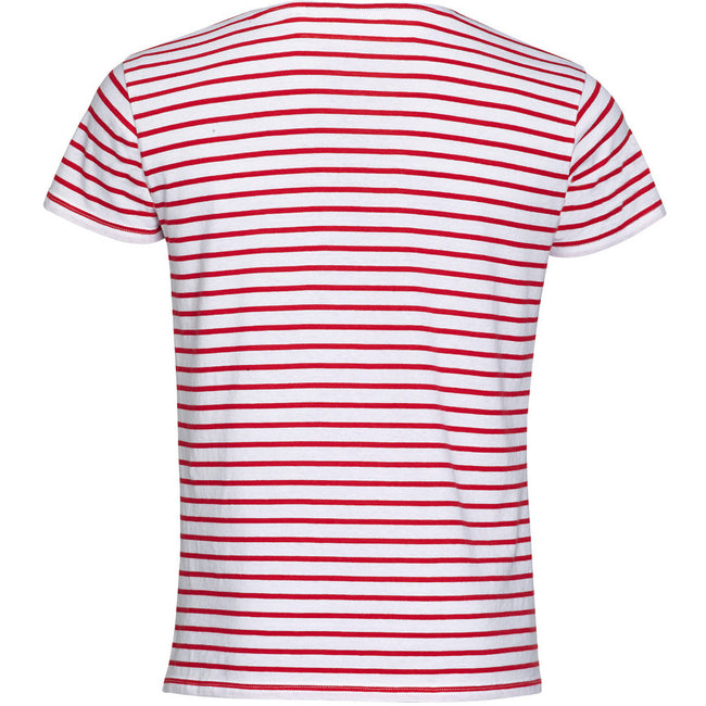 White-Red - Back - SOLS Mens Miles Striped Short Sleeve T-Shirt