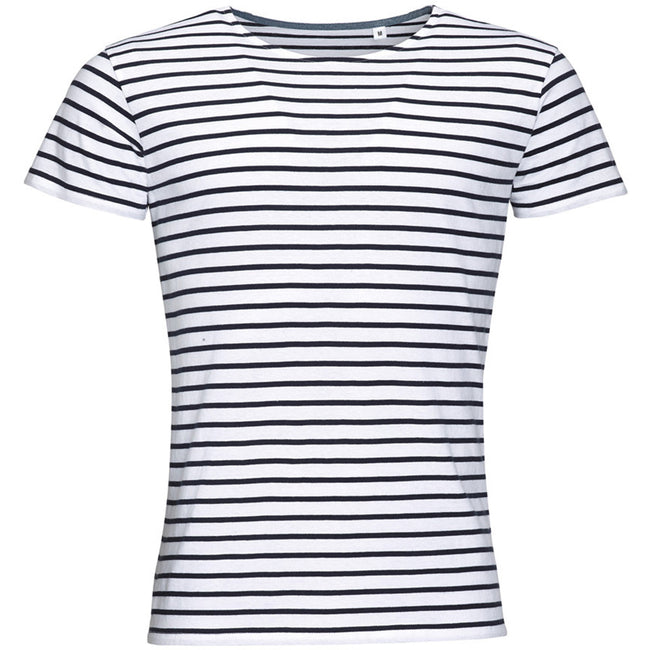 White-Navy - Front - SOLS Mens Miles Striped Short Sleeve T-Shirt